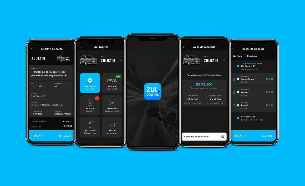 zul+ app com diversos serviços relacionados ao carro multas ipva estacionamento seguro auto tag de pedágio