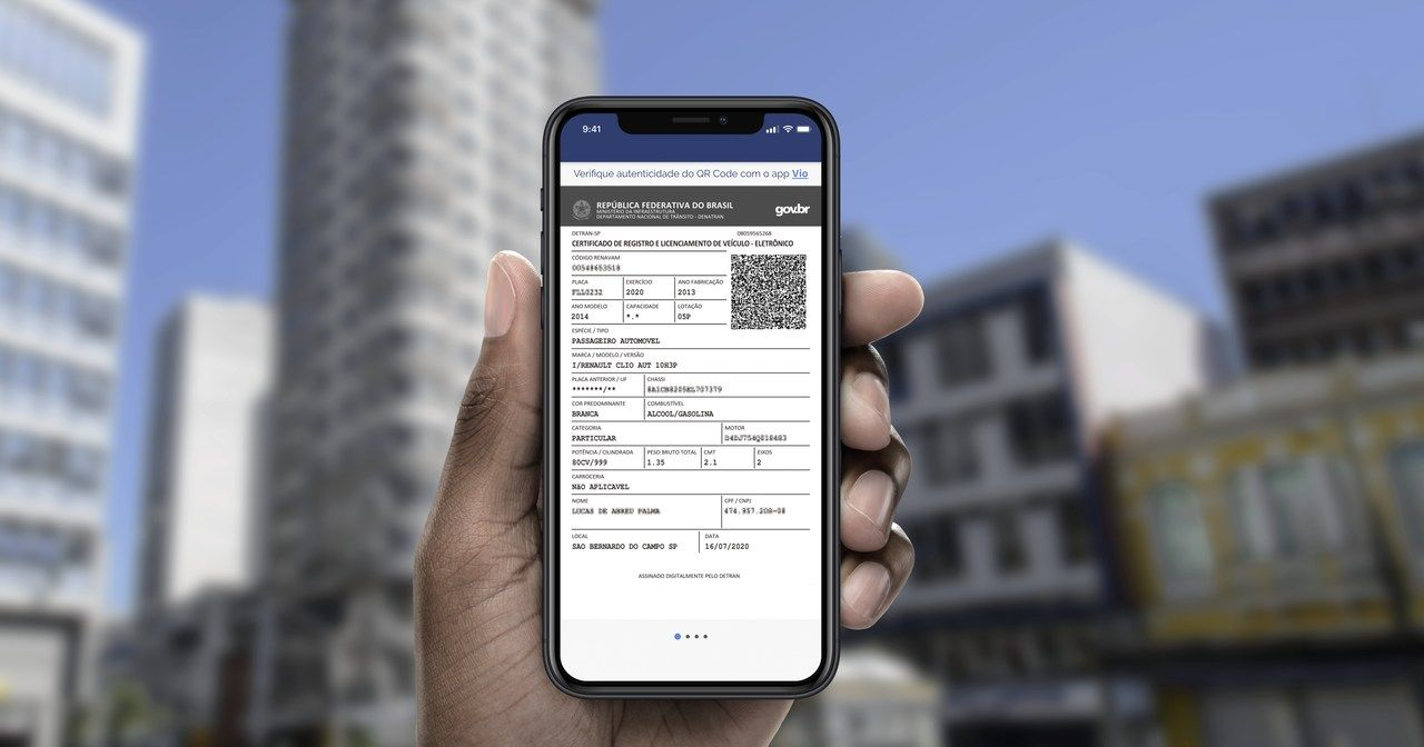 CRLV Digital celular do motorista